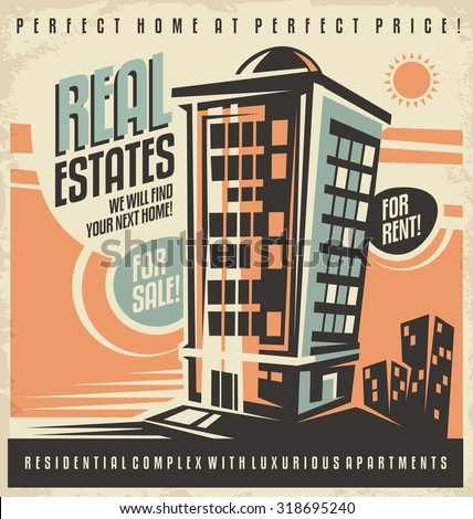 Real estates vintage ad design concept. Residential building retro poster template. House for rent. Home for sale. Promotional document mock up. - stock vector