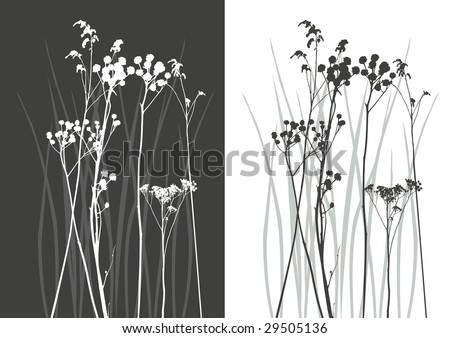 real grass silhouette - vector - two colors - stock vector