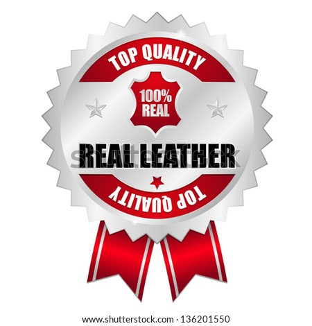 Real leather seal silver red - stock vector