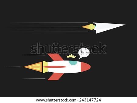 real rocket is lose, idea is winner - stock vector
