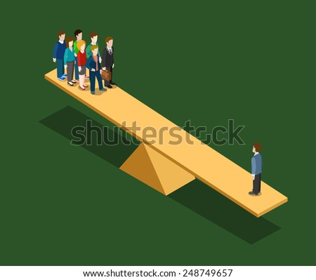 Real significance value of people. Seesaw on one side group, other side overweighted by one man. Flat 3d isometric business lifestyle concept.