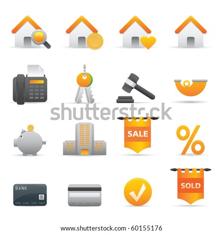 Real State Icons, Yellow12 Professional icons for your website, application, or presentation - stock vector