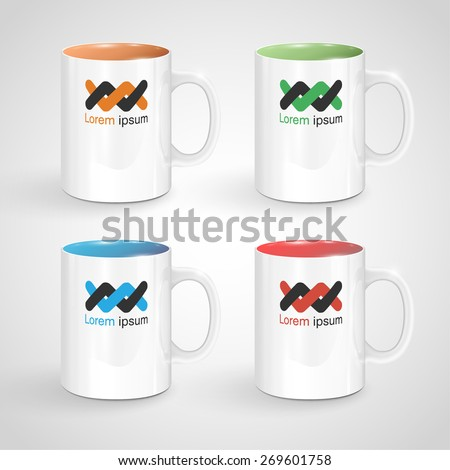 Realisctic colorful white mugs, vector - stock vector