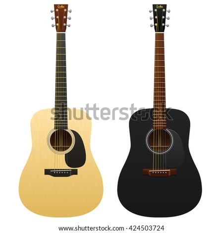 Realistic acoustic guitars isolated / two western guitars / classical musical instruments / acoustic guitar, classic guitar, guitar isolated, realistic guitar, black guitar - stock vector