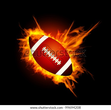 Realistic American football in the fire - stock vector