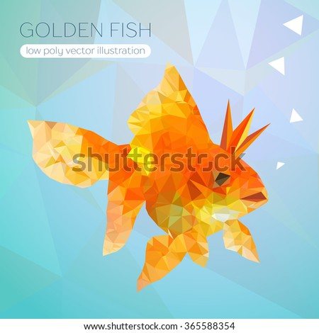 Realistic and detailed vector illustration of a goldfish in low poly style. Orange Goldfish with bobbles of air. - stock vector