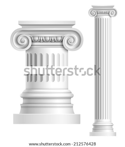 Realistic antique ionic column isolated on white background vector illustration - stock vector