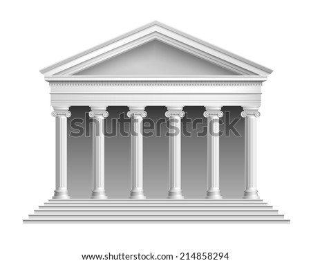 Realistic antique temple with ionic colonnade isolated on white background vector illustration - stock vector