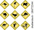 Realistic Australian traffic signs with different wildlife on it - Vector file - stock vector