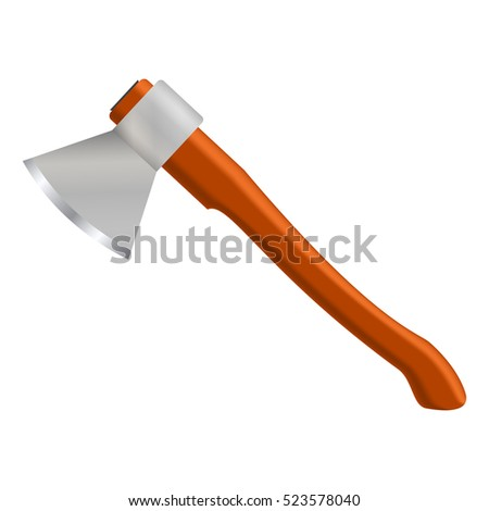 Realistic ax isolated on white background. Vector illustration