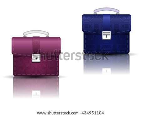 Realistic bags briefcase from leather. Business background.