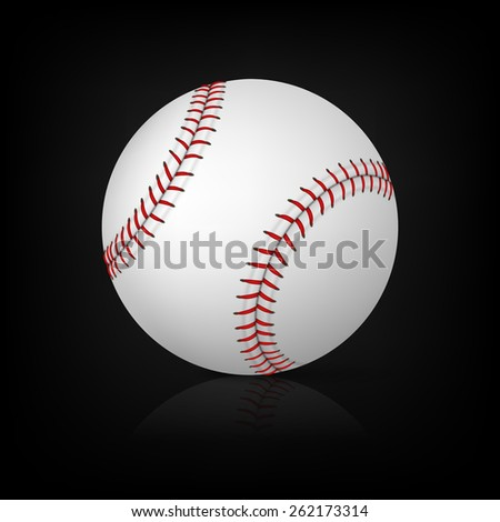 Realistic baseball on black background with reflection. Vector EPS10 illustration.