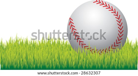 realistic baseball on grass isolated - stock vector