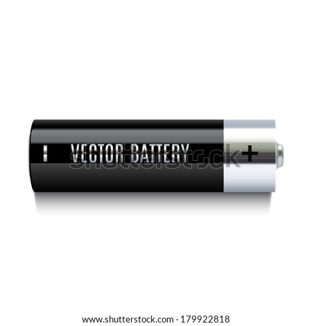 Realistic battery icon. Vector illustration - stock vector