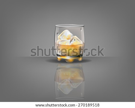 realistic beautiful whiskey glass with ice cubes and whiskey vector - stock vector