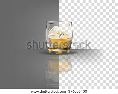 realistic beautiful whiskey glass with ice cubes and whiskey vector on transparent background - stock vector