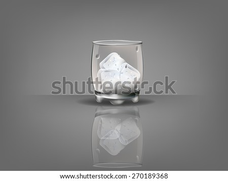 realistic beautiful whiskey glass with ice cubes vector - stock vector