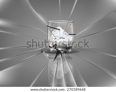 realistic beautiful whiskey glass with ice cubes vector,broken glass scene - stock vector