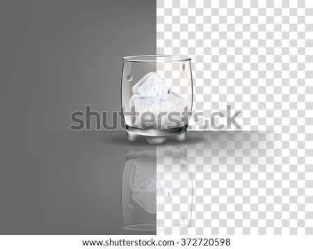realistic beautiful whiskey glass with ice cubes vector on transparent background - stock vector