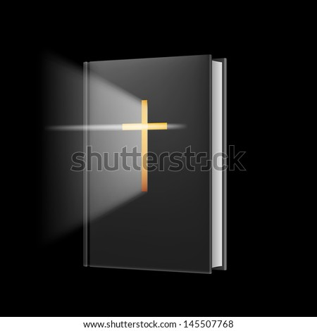 Realistic bible. Illustration on black background for design. - stock vector