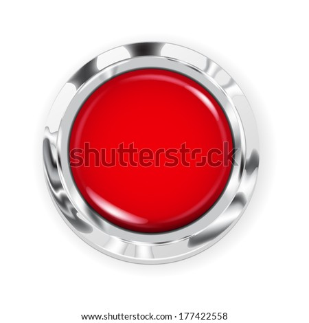 Realistic big red button with metallic border - stock vector