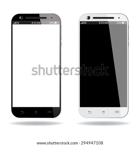 Realistic black and white smartphone isolated on white background. Vector design smart phones. - stock vector