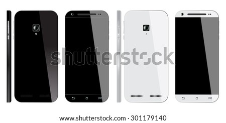 Realistic black and white Smartphone with blank screen, isolated on white background. Smart Phones Front, Back and Side view. Mockup design. Vector illustration.
