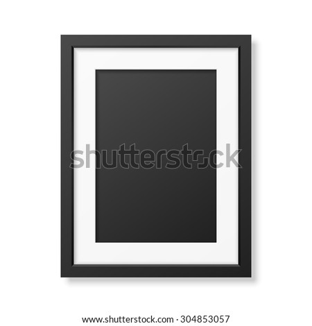 Realistic black frame A4 isolated on white. It can be used for presentations. Vector EPS10 illustration.