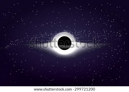 Realistic black hole in outer space, vector illustration. Infinite mass and density. Event horizon. - stock vector