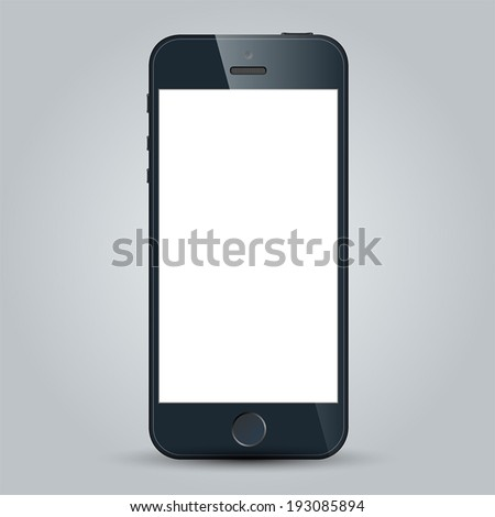 Realistic black mobile phone with blank screen in similar to iphone style isolated on white. Vector EPS10 - stock vector
