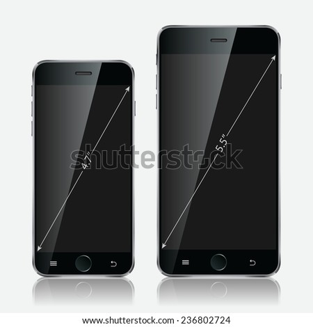 Realistic black mobiles phones set with blank screen isolated on white background. Modern concept smartphone devices with digital display. Vector illustration  - stock vector