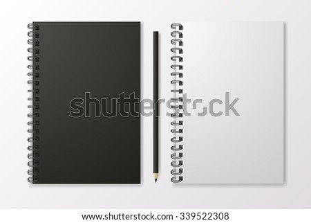 Realistic black notebook with pencil and template blank, vector - stock vector