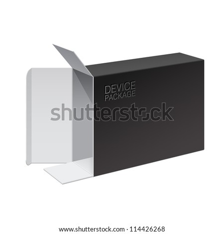 Realistic Black Package Box Opened lying on its side. For Software, electronic device and other products. Vector illustration - stock vector