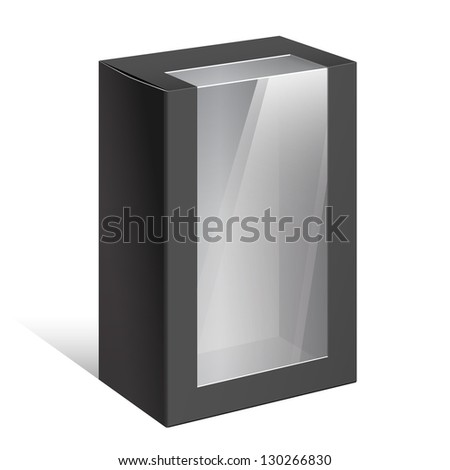 Realistic Black Package Cardboard Box with a transparent plastic window. On separate layers box and plastic window. Vector illustration. - stock vector