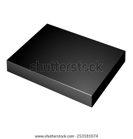 Realistic Black Package slim Cardboard Box. For any product. Vector illustration - stock vector