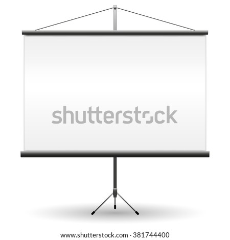 Realistic black projector screen for presentations with empty white blank. vector illustration isolated on white background