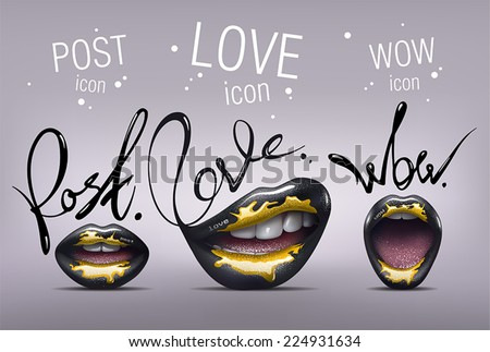 Realistic black sexy Lips with yellow paint on them. Stylized glamorous Lips icon set with Post, Love and Wow words. Vector - stock vector