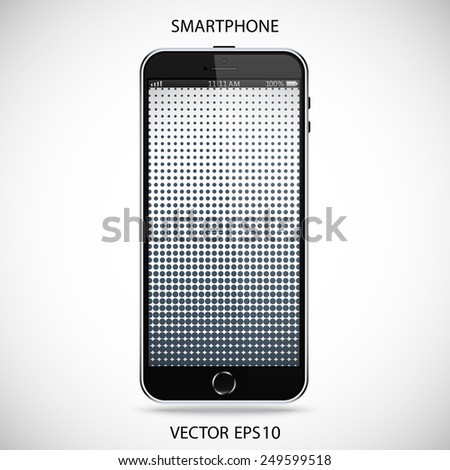 realistic black smartphone in iphone style with a touch screen on a gray background. vector illustration eps10 - stock vector