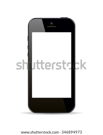 Realistic black smartphone in iphone style with blank screen isolated on white background. Vector illustration.
