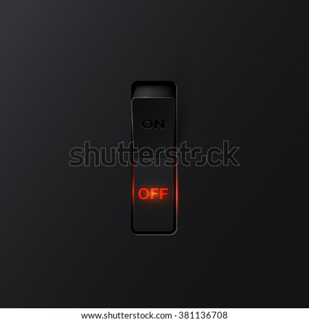 Realistic black switch with backlight OFF, vector - stock vector