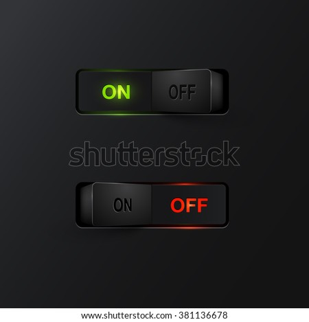 Realistic black switches with backlight ON/OFF, vector - stock vector