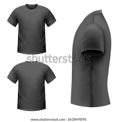 Realistic black t-shirt on a white background - stock vector