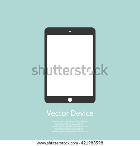 Realistic black tablet with blank screen isolated on white background. Vector illustration - stock vector