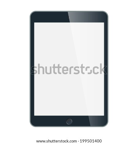 Realistic black tablet with blank screen isolated on white. Vector EPS10 - stock vector