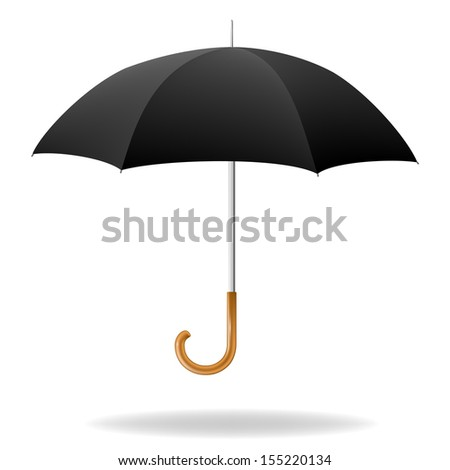 Realistic black umbrella on white background. Vector illustration - stock vector