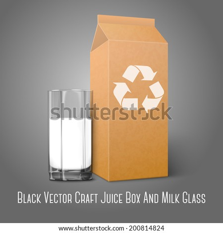 Realistic blank craft paper package with recycle sign and glass for milk, juice, cocktail etc. Isolated on grey background, for design and branding. Transparent glass for every background. Vector - stock vector