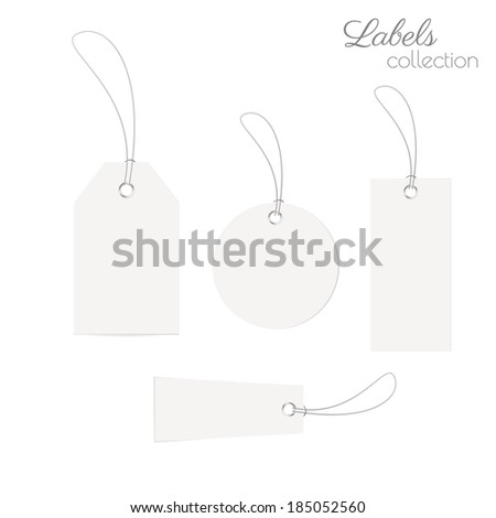 Realistic blank labels collection. Vector eps10.
