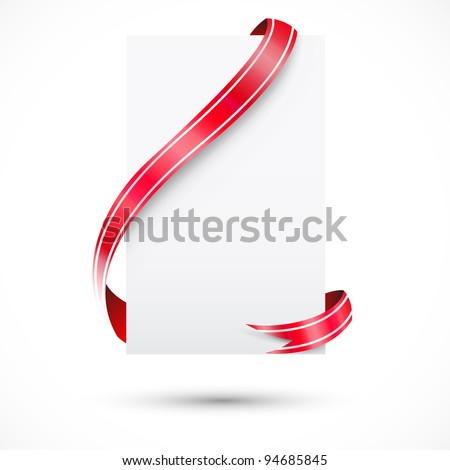 realistic blank paper and red ribbon