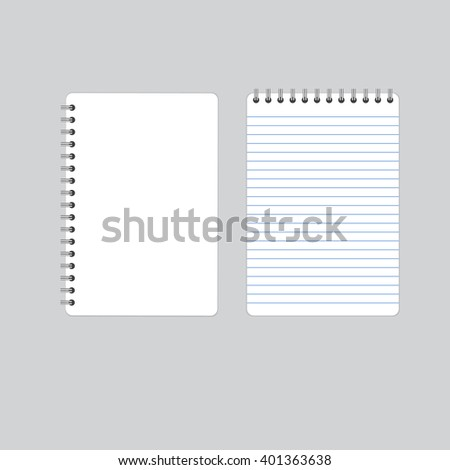 Realistic blank spiral notebook notepad isolated white vector. Blank realistic spiral notepad notebook isolated on white vector. Display Mock up. - stock vector