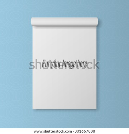 Realistic blank Template of open Notepad with bend Page - stock vector